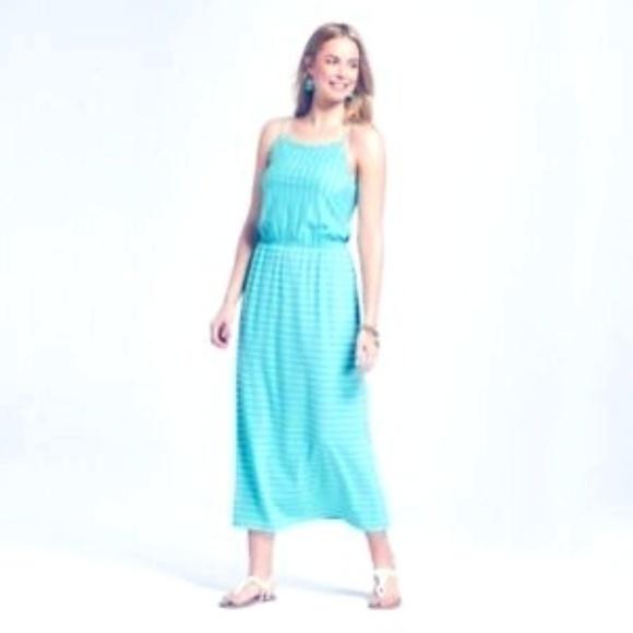 Merona Dresses & Skirts - Merona Womens Striped Knit Maxi Dress Blue L